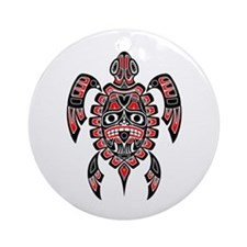 Red and Black Haida Sea Turtle Ornament (Round)