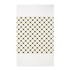 Cute Black, Gray, and Yellow Polka Dots 3'x5' Area