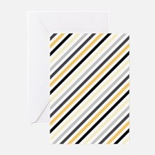 Cute Yellow, Black, Gray Stripes Greeting Cards