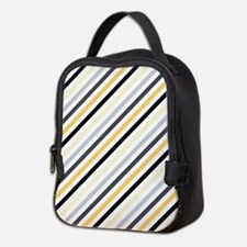 Cute Yellow, Black, Gray Stripes Neoprene Lunch Ba