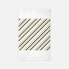 Cute Yellow, Black, Gray Stripes 3'x5' Area Rug