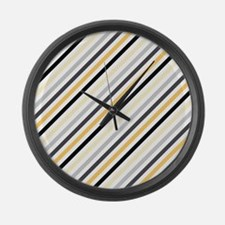 Cute Yellow, Black, Gray Stripes Large Wall Clock