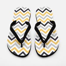 Cute Yellow and Gray Chevron Stripes Flip Flops