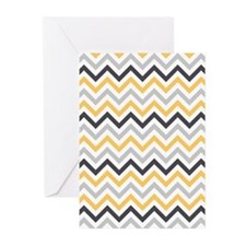 Cute Yellow and Gray Chevron Stripes Greeting Card