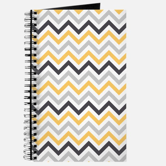Cute Yellow and Gray Chevron Stripes Journal