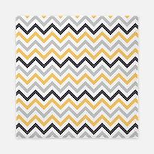Cute Yellow and Gray Chevron Stripes Queen Duvet