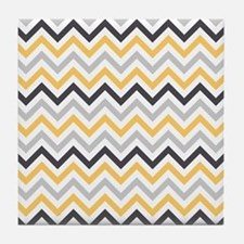 Cute Yellow and Gray Chevron Stripes Tile Coaster
