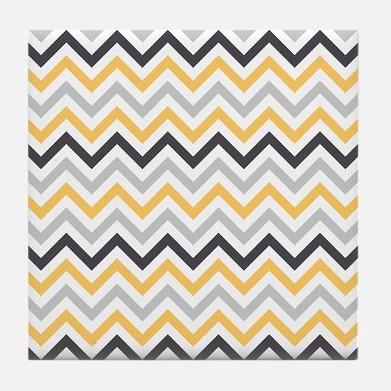 Cute Yellow and Gray Chevron Stripes Tile Coaster