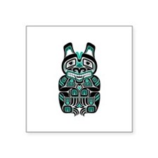 Teal Blue and Black Haida Spirit Bear Sticker