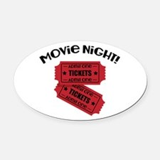 Movie Night! Oval Car Magnet