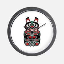 Red and Black Haida Spirit Bear Wall Clock
