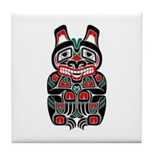 Red and Black Haida Spirit Bear Tile Coaster