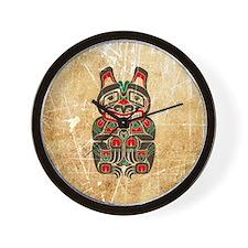 Scratched Haida Spirit Bear Wall Clock