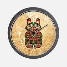 Scratched Haida Spirit Bear Wall Clock
