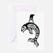 Teal Blue And Black Haida Spirit Greeting Cards