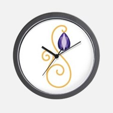 Amethyst February Month Text Wall Clock