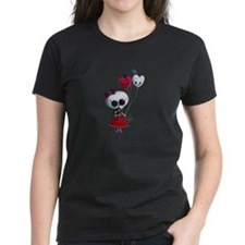 Cute Skeleton Girl with Spooky Balloons T-Shirt