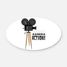 Lights Camera Action! Oval Car Magnet