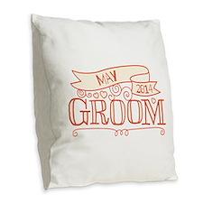 Groom 2014 May Burlap Throw Pillow