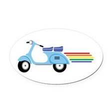 Rainbow Scooter Oval Car Magnet
