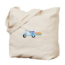 Rainbow Scooter Tote Bag