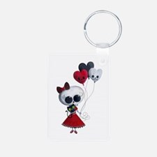 Cute Skeleton Girl with Spooky Balloons Keychains