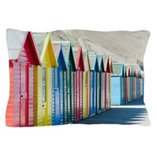 Row of beach huts at Whitby Sands Pillow Case
