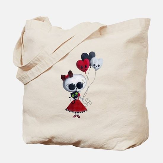 Cute Skeleton Girl with Spooky Balloons Tote Bag