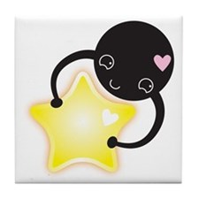 little black kawaii mite with s astar Tile Coaster
