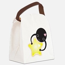 little black kawaii mite with s a Canvas Lunch Bag