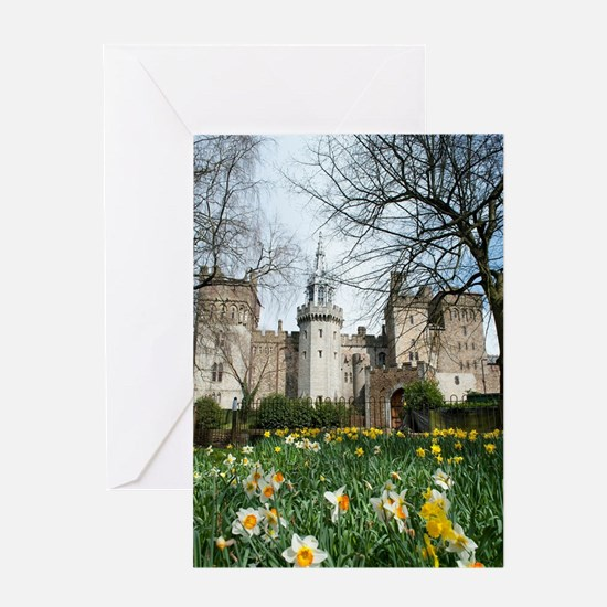 Spring daffodils at Cardiff Castle Greeting Card