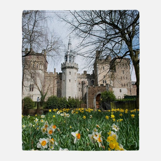 Spring daffodils at Cardiff Castle Throw Blanket