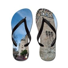 Clock tower at Cardiff Castle Flip Flops