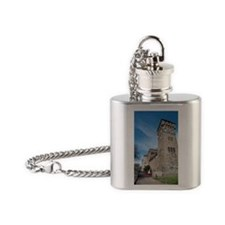 Clock tower at Cardiff Castle Flask Necklace