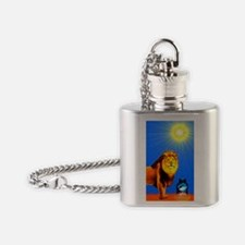 Lion and Tadpole Strength Tarot Car Flask Necklace