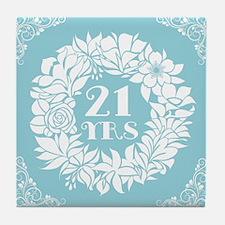 21st Anniversary Wreath Tile Coaster