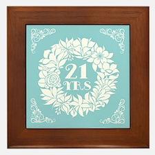 21st Anniversary Wreath Framed Tile