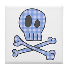 Blue Gingham Pirate Tile Coaster