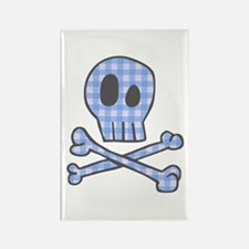 Blue Gingham Pirate Rectangle Magnet