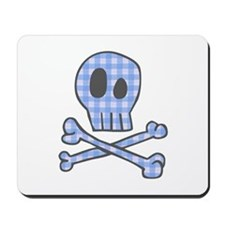 Blue Gingham Pirate Mousepad