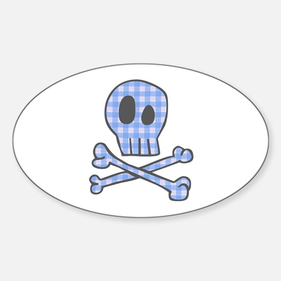 Blue Gingham Pirate Oval Decal