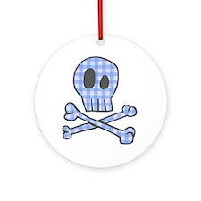 Blue Gingham Pirate Ornament (Round)