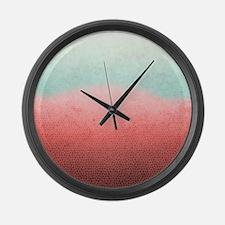 Ombre Cranberry Aqua Large Wall Clock
