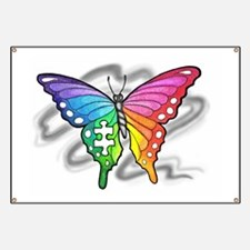 Rainbow butterfly with Puzzle piece Banner