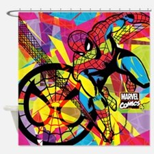 Spiderman Color Shards Shower Curtain