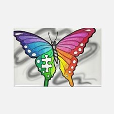 Rainbow butterfly with Puzzle piece Magnets