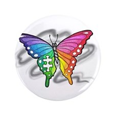 """Rainbow butterfly with Puzzle piece 3.5"""" Button"""