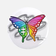 "Rainbow butterfly with Puzzle piece 3.5"" Button"