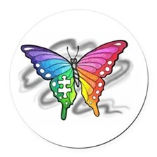 Rainbow butterfly with Puzzle piece Round Car Magn