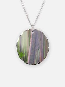 Rainbow Eucalyptus Tree Necklace Circle Charm